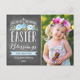 Easter Blessings Rose Banner Chalkboard | Easter Holiday Postcard