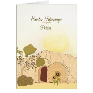 Easter Blessings to my priest, empty tomb Card