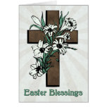 Easter Blessings w/ Cross and Lilies with Sunburst Greeting Card