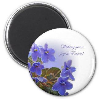 Easter Blue African Violets 2 Inch Round Magnet