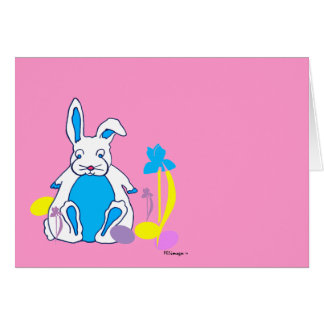 Easter Blue Bunny with Eggs and Flowers Card