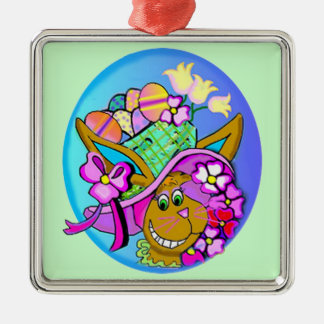Easter Bonnet Gifts Square Metal Christmas Ornament