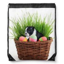 Easter Boston Terrier dog drawstring backpack