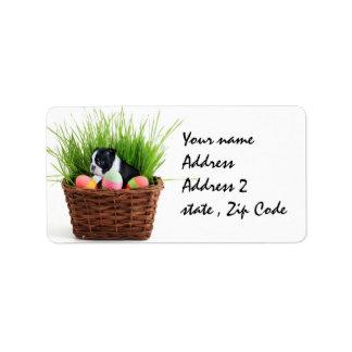Easter Boston Terrier  dog Label
