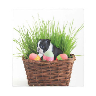 Easter Boston Terrier  dog Note Pad