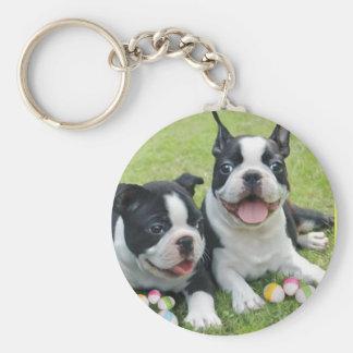Easter boston terriers key chain