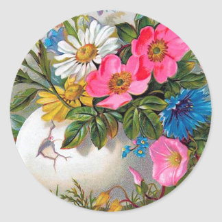 Easter Bouquet Vintage Flowers Classic Round Sticker