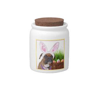 Easter boxer dog candy jars