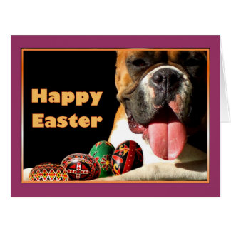 Easter Boxer Dog Large Greeting Card