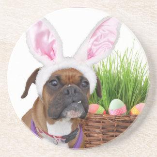 Easter boxer dog drink coaster