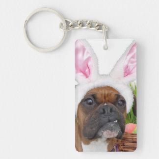 Easter boxer dog keychain
