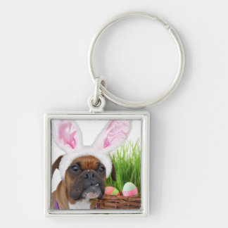 Easter boxer dog Silver-Colored square keychain