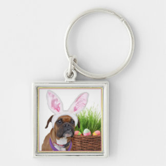 Easter Boxer Dog Keychain