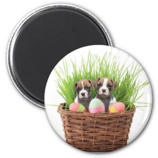 Easter boxer puppies 2 inch round magnet
