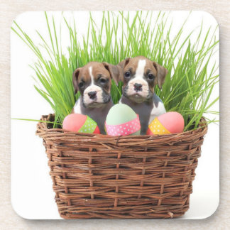 Easter boxer puppies beverage coaster