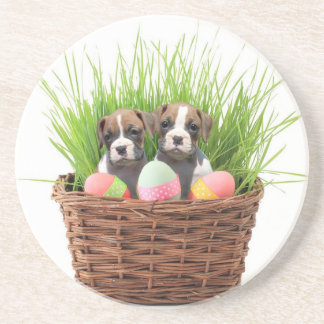 Easter boxer puppies coaster