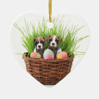Easter boxer puppies heart ornament