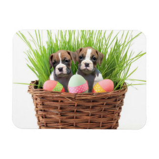 Easter boxer puppies rectangular photo magnet