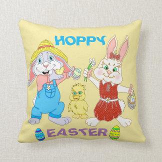 Easter Boy And Girl Bunnies Throw Pillow