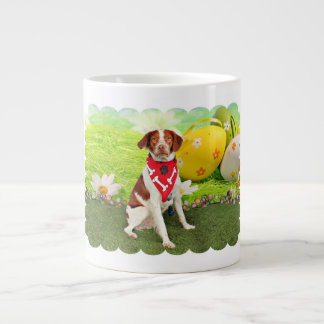 Easter - Brittany Spaniel - Elliott 20 Oz Large Ceramic Coffee Mug
