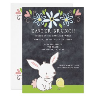 Easter Brunch Bunny And Chick With Spring Flowers Invitation