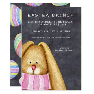Easter Brunch Bunny Rabbit in Scarf Invitation