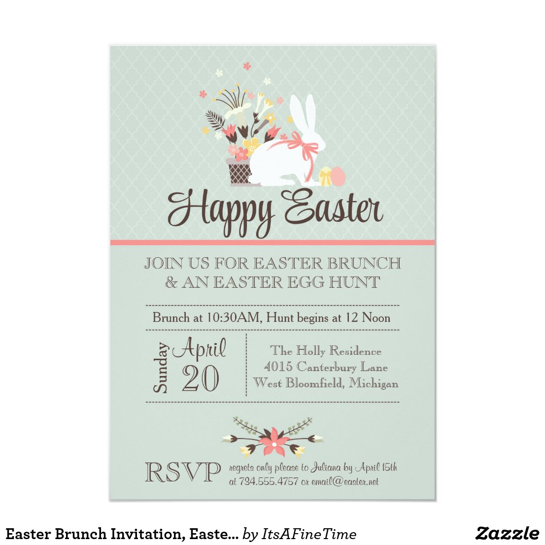Easter Brunch Invitation, Easter Egg Hunt Invite