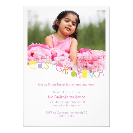 Easter Brunch Kids Photo Easter Party Colorful Custom Announcements