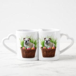 Easter Bulldog dog Coffee Mug Set