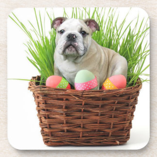 Easter Bulldog dog Drink Coasters