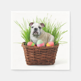 Easter Bulldog dog Napkin