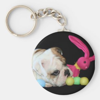 Easter Bulldog keychain