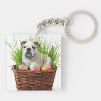 Easter Bulldog Square Acrylic Keychain