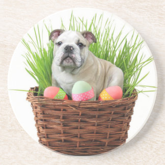 Easter bulldog sandstone coaster
