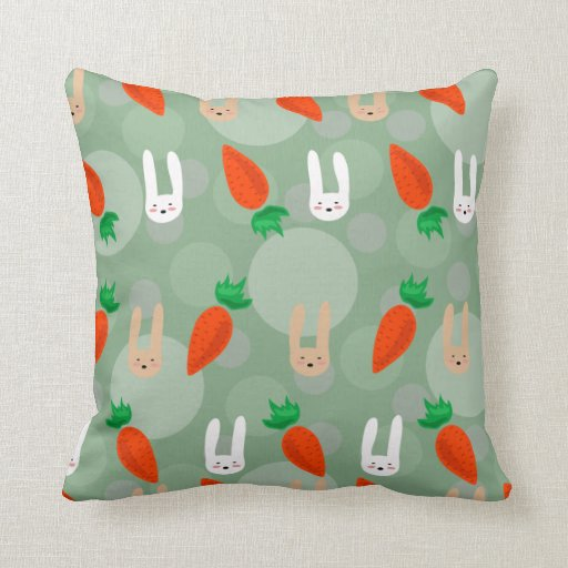 Easter bunnies and carrots pillows