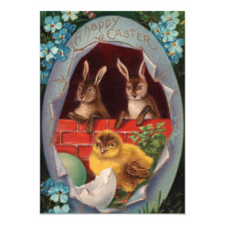 Easter Bunnies and Chick Vintage  Invitation