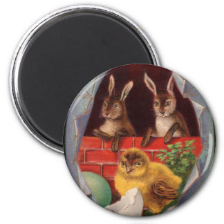 Easter Bunnies and Chick Vintage Magnet