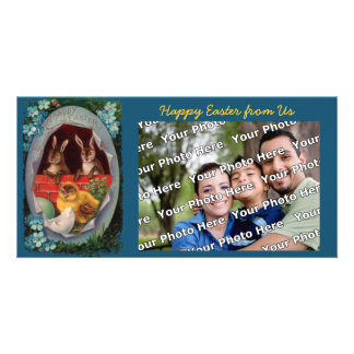 Easter Bunnies and Chick Vintage Photo Card