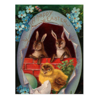 Easter Bunnies and Chick Vintage Postcard