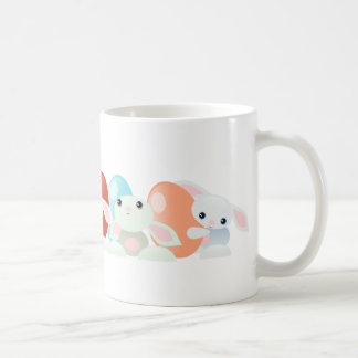 Easter Bunnies and Colored Eggs Classic White Coffee Mug