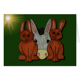 Easter Bunnies and Donkey card