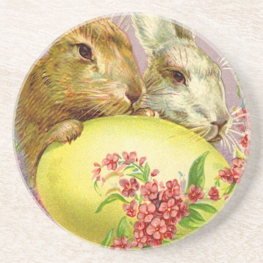 Easter Bunnies and Egg Vintage Coaster
