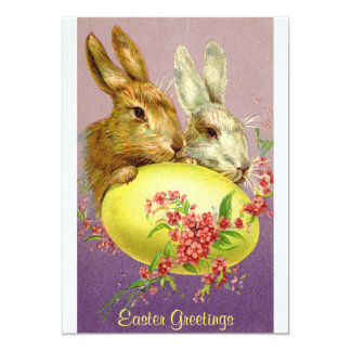 Easter Bunnies and Egg Vintage Invitation