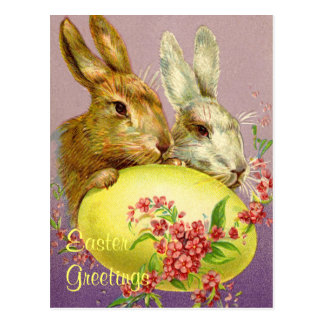 Easter Bunnies and Egg Vintage Postcard