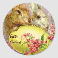 Easter Bunnies and Egg Vintage Stickers