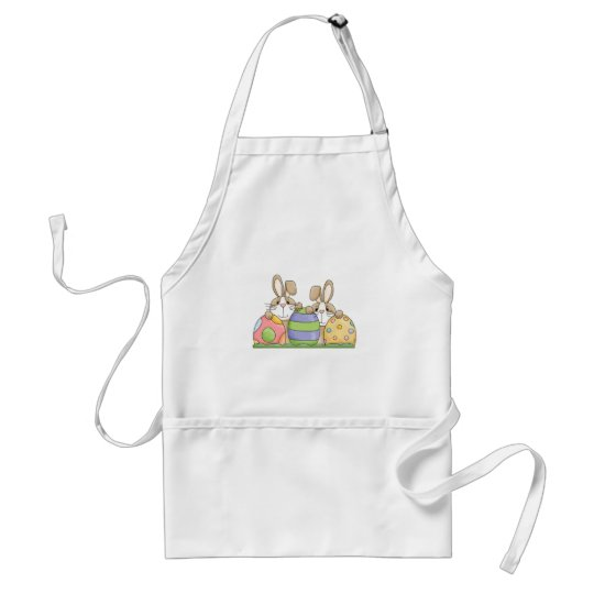 easter bunnies and eggs adult apron