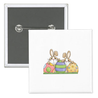 easter bunnies and eggs 2 inch square button