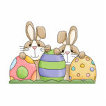 easter bunnies and eggs photo cut out