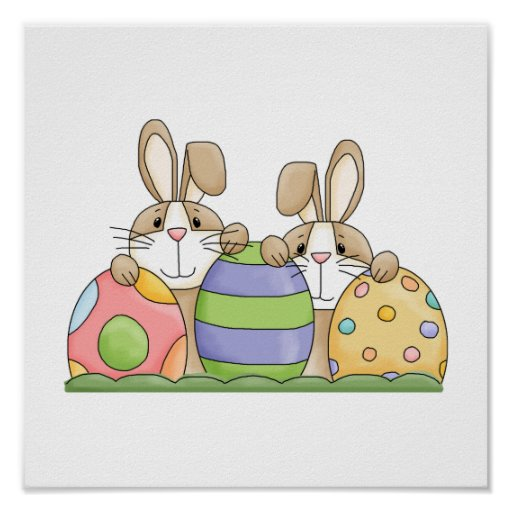 easter bunnies and eggs poster