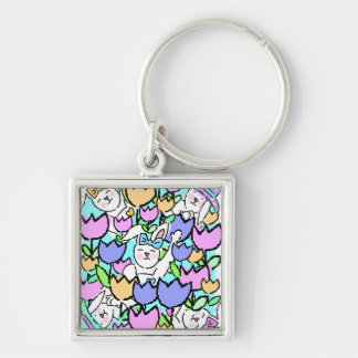 Easter Bunnies and Tulips Keychain